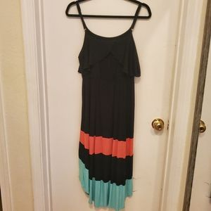 Women's high-low dress with ruffled top